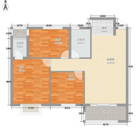 金星阳光格林3室0厅2卫0厨82.23㎡户型图