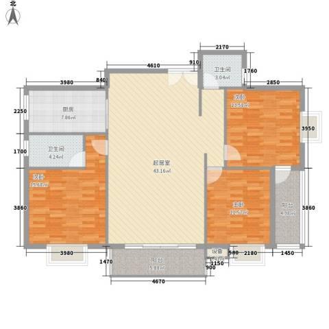 金星阳光格林3室0厅2卫1厨109.81㎡户型图