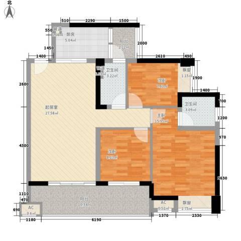 保利林语3室0厅2卫1厨106.00㎡户型图