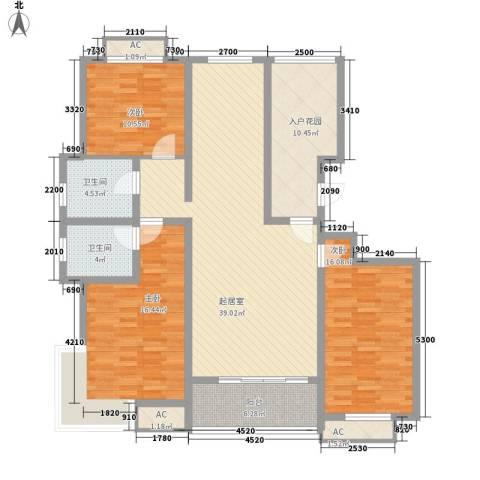 东方名都3室0厅2卫0厨129.00㎡户型图