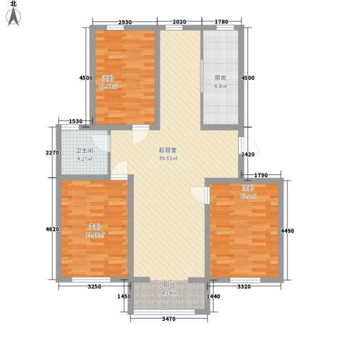 弘基书香园三期3室0厅1卫1厨125.00㎡户型图