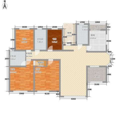 弘基书香园三期4室0厅3卫1厨189.00㎡户型图
