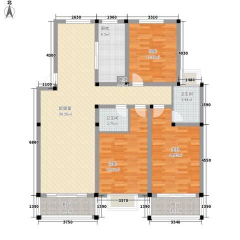 华夏星辰3室0厅2卫1厨146.00㎡户型图