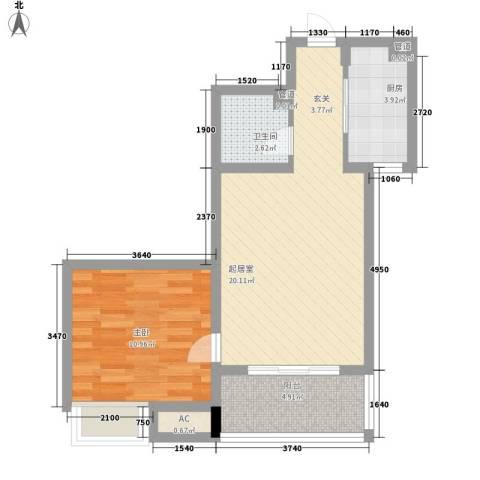 名仕公馆1室0厅1卫1厨64.00㎡户型图