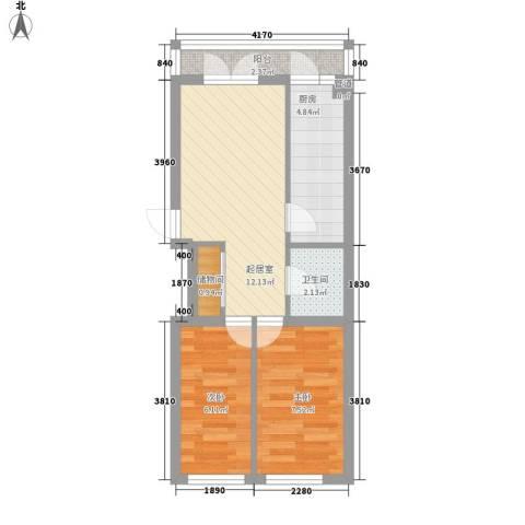 田园新城2室0厅1卫1厨54.00㎡户型图