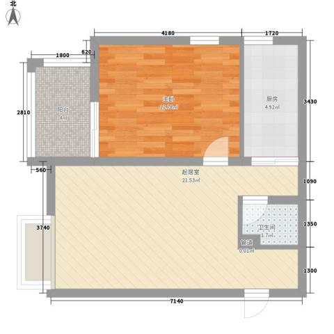 名仕公馆1室0厅1卫1厨65.00㎡户型图