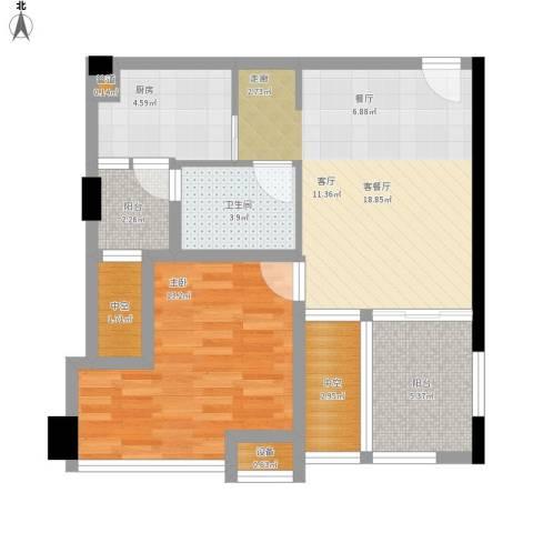 天地自由星城1室1厅1卫1厨80.00㎡户型图
