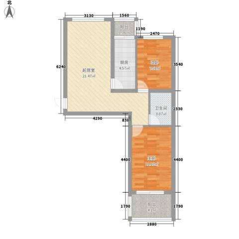 名仕公馆2室0厅1卫1厨77.00㎡户型图