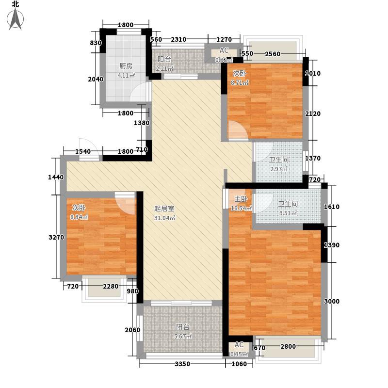 翰林壹品123.40㎡一期12、17号楼标准层B2户型