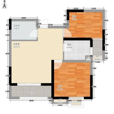 紫薇苑2室0厅1卫1厨81.00㎡户型图