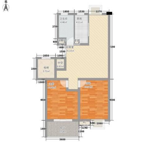 假日名都2室0厅1卫1厨84.00㎡户型图
