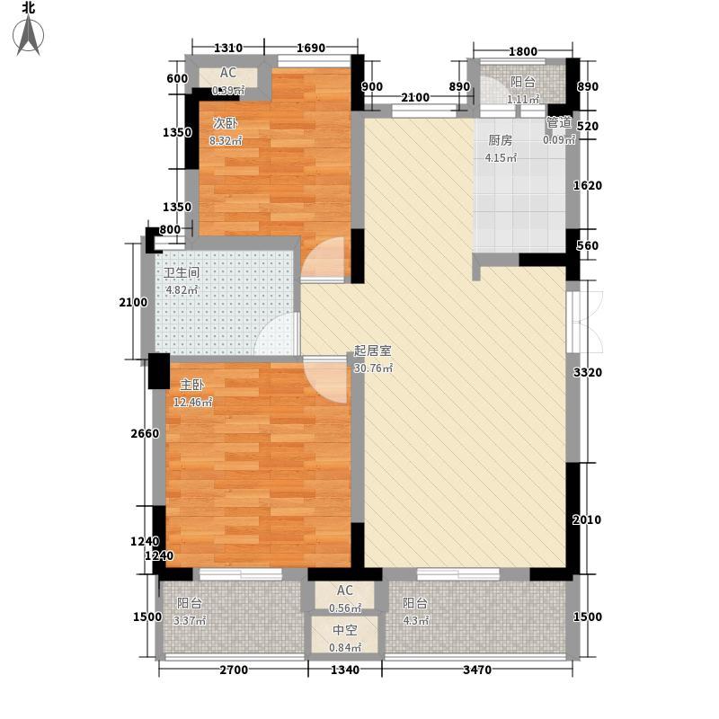 宗申赛纳维82.00㎡洋房单卫B12F户型2室2厅1卫
