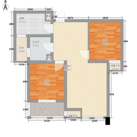九洲新家园2室1厅1卫1厨83.00㎡户型图