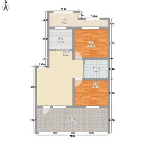 月潭爱丁堡2室0厅1卫1厨78.75㎡户型图