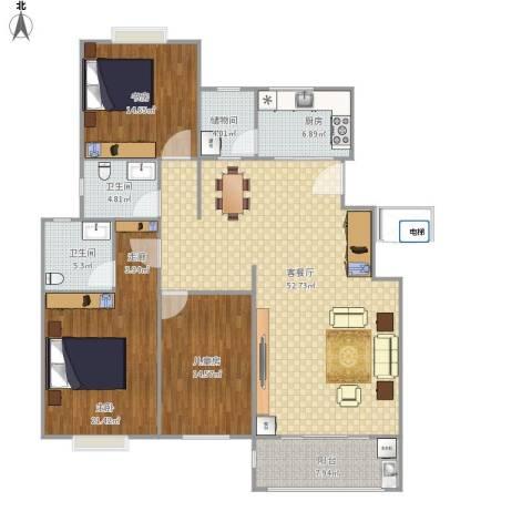 金鼎公寓3室1厅2卫1厨176.00㎡户型图