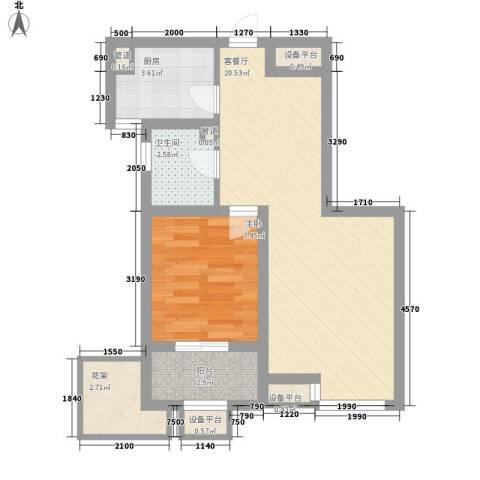九洲新家园1室1厅1卫1厨63.00㎡户型图