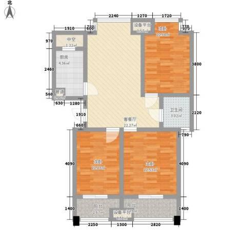 九洲新家园3室1厅1卫1厨106.00㎡户型图