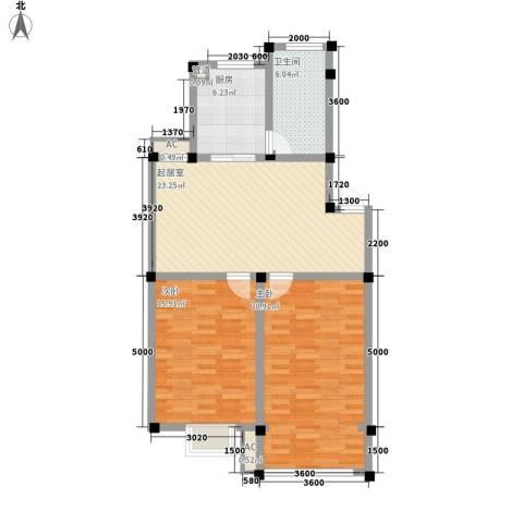 上林苑2室0厅1卫1厨73.44㎡户型图