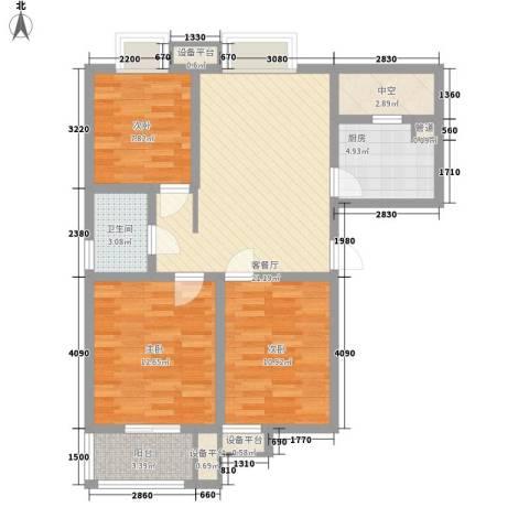 九洲新家园3室1厅1卫1厨103.00㎡户型图