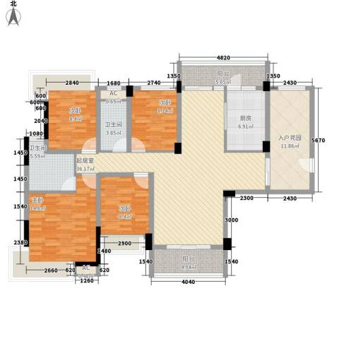 南峰金碧华庭4室0厅2卫1厨133.48㎡户型图