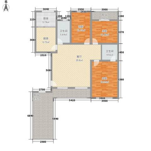 月潭爱丁堡3室1厅2卫2厨157.00㎡户型图