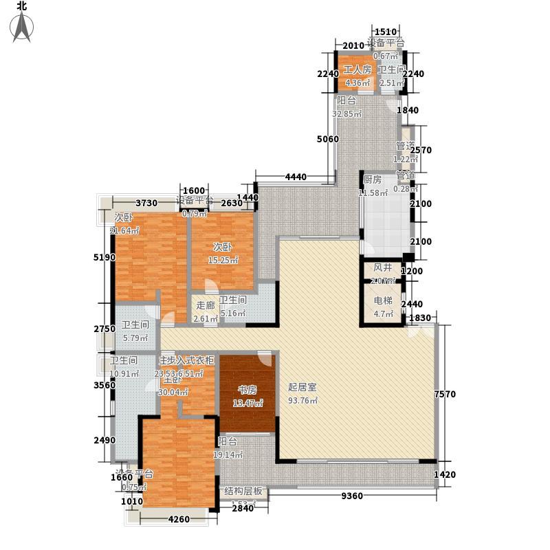 五洲花城二期288.00㎡A24++双阳台户型5室2厅