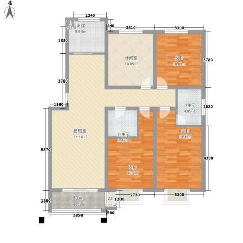 华夏星辰3室0厅2卫1厨144.00㎡户型图