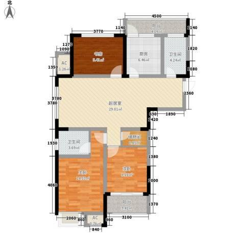 天成雅居3室0厅2卫1厨128.00㎡户型图