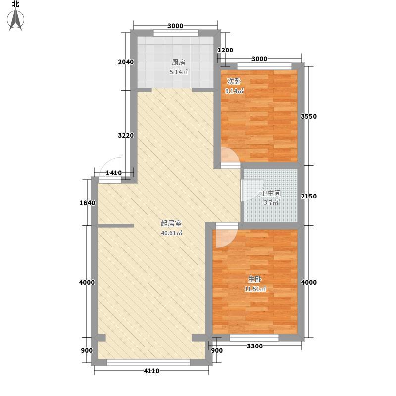 欢喜新村景秀园88.22㎡二期多层2号楼标准层D-B户型2室2厅1卫1厨