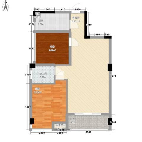 润恒国华瑞景2室1厅1卫1厨76.00㎡户型图