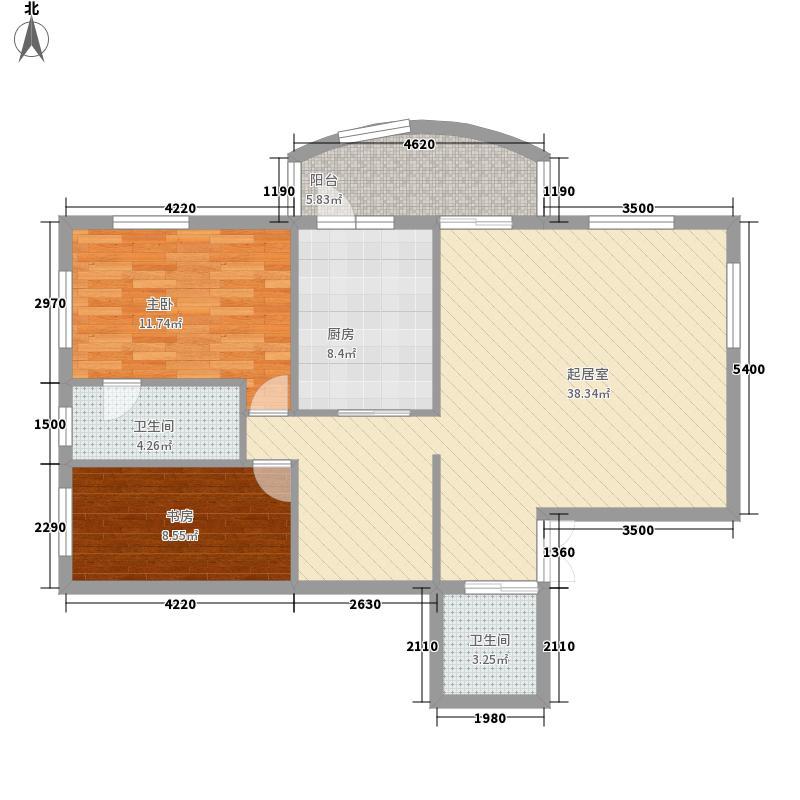 中央经典113.00㎡套型C户型2室2厅2卫1厨