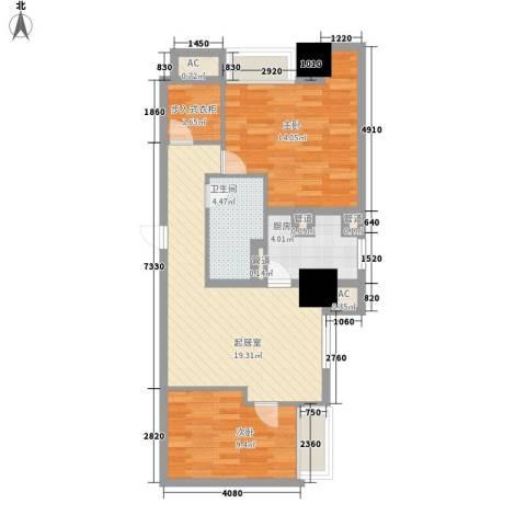 世家名门2室0厅1卫1厨66.00㎡户型图