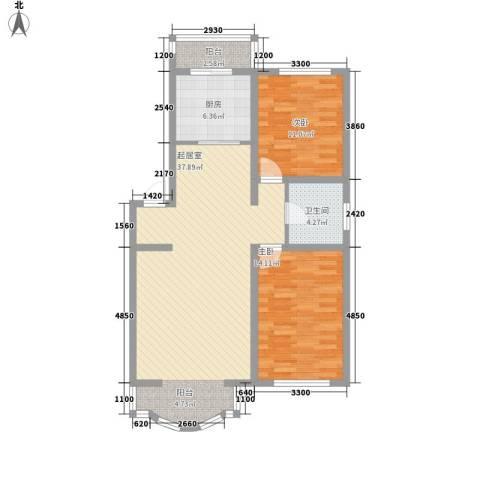 世博家园2室0厅1卫1厨109.00㎡户型图