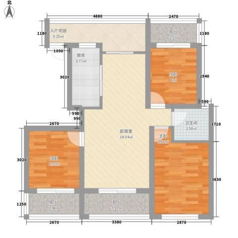 金鼎旺座3室0厅1卫1厨90.00㎡户型图