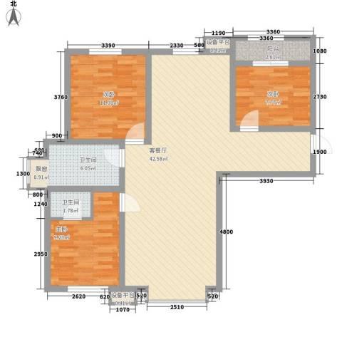 长春明珠3室1厅2卫0厨117.00㎡户型图
