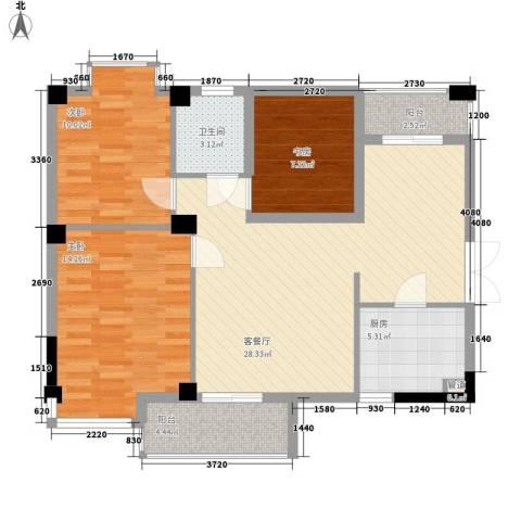 润恒国华瑞景3室1厅1卫1厨75.31㎡户型图