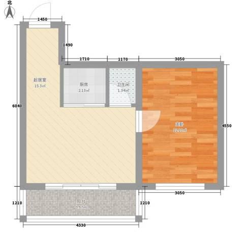 世博家园1室0厅1卫1厨52.00㎡户型图