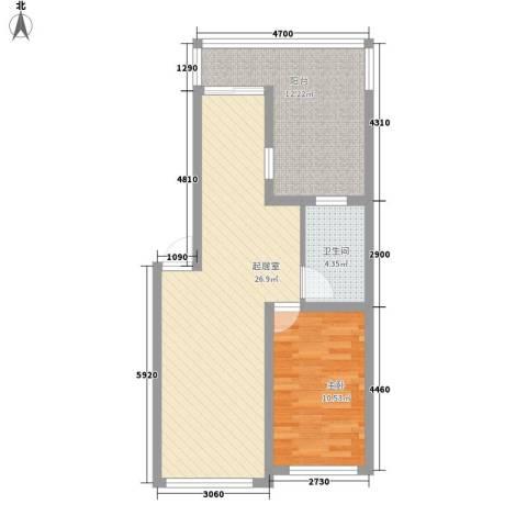 华宇花园1室0厅1卫0厨77.00㎡户型图