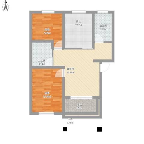 翠湖新村2室1厅2卫1厨84.00㎡户型图