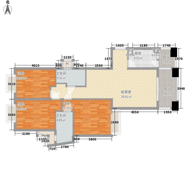 锦绣银湾别墅户型图3座4梯03单位 3室2厅2卫1厨
