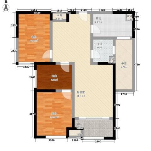 明发・淄博世贸中心3室0厅1卫1厨84.97㎡户型图