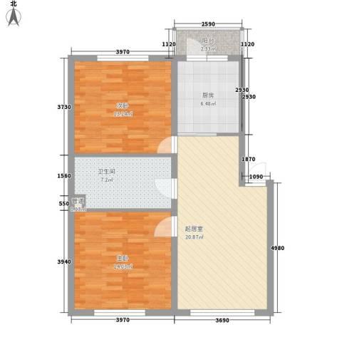 荣兴新越2室0厅1卫1厨91.00㎡户型图