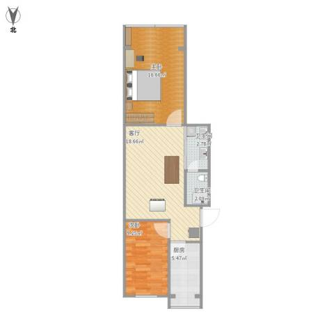 场门口小区2室1厅2卫1厨75.00㎡户型图