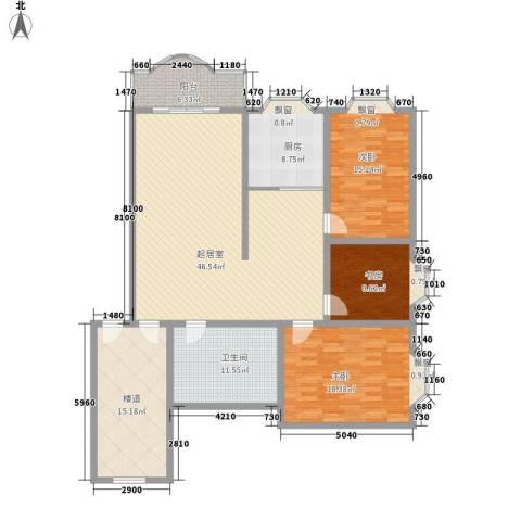御花苑公寓3室0厅1卫1厨183.00㎡户型图