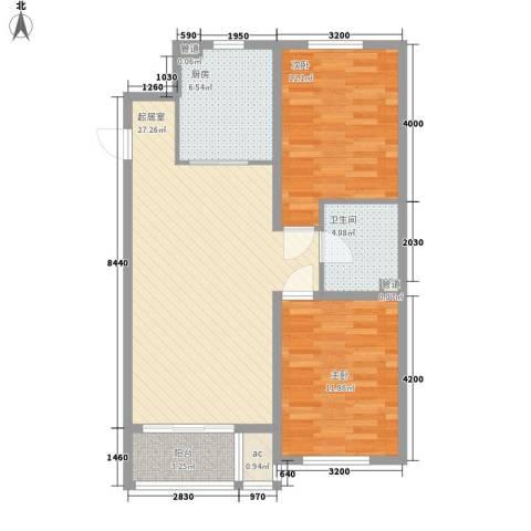 金色玺园2室0厅1卫1厨90.00㎡户型图