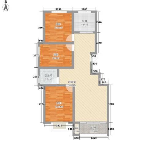 东方名都3室0厅1卫1厨105.00㎡户型图