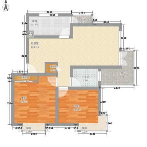 当代高邸2室0厅1卫1厨93.00㎡户型图