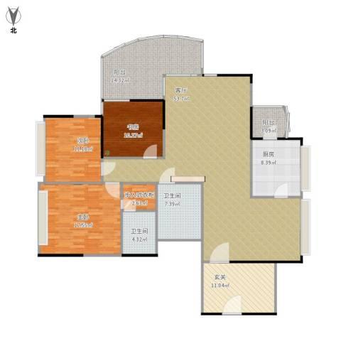 天泓山庄3室1厅2卫1厨192.00㎡户型图