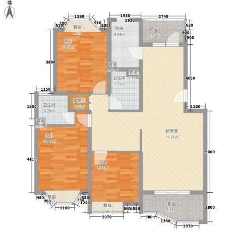 当代高邸3室0厅2卫1厨134.00㎡户型图