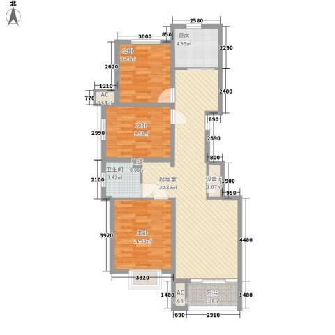 东方名都3室0厅1卫1厨110.00㎡户型图